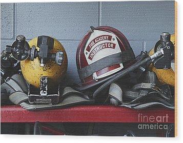 Fireman Helmets And Gear Wood Print by Skip Nall