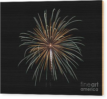 Wood Print featuring the photograph Fireworks 10 by Mark Dodd