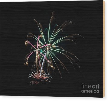 Wood Print featuring the photograph Fireworks 11 by Mark Dodd