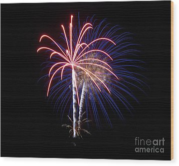Wood Print featuring the photograph Fireworks 12 by Mark Dodd