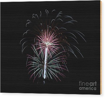 Wood Print featuring the photograph Fireworks 13 by Mark Dodd