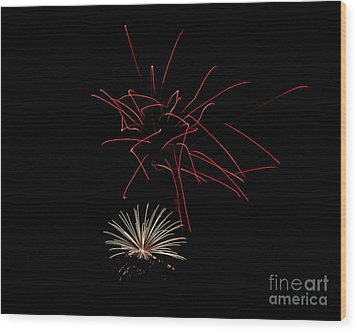 Wood Print featuring the photograph Fireworks 6 by Mark Dodd