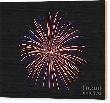 Wood Print featuring the photograph Fireworks 7 by Mark Dodd