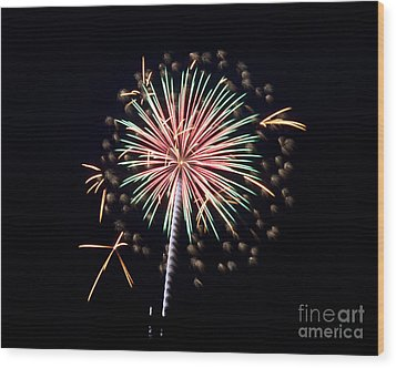 Wood Print featuring the photograph Fireworks 9 by Mark Dodd
