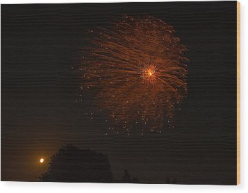 Wood Print featuring the photograph Fireworks And Wildfire Moon by Tom Gort