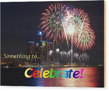 Fireworks Card Wood Print