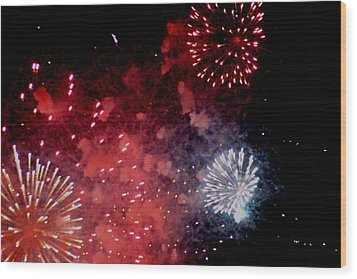 Wood Print featuring the photograph Fireworks II by Kelly Hazel