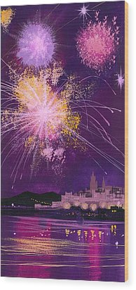 Fireworks In Malta Wood Print by Angss McBride
