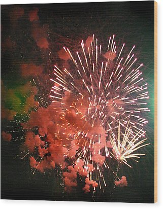 Wood Print featuring the photograph Fireworks by Kelly Hazel