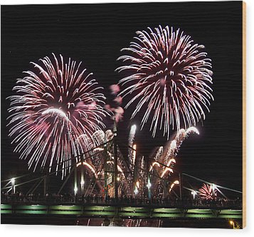 Wood Print featuring the photograph Fireworks by Michael Dorn