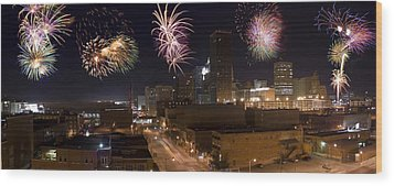 Fireworks Over The City Wood Print by Ricky Barnard