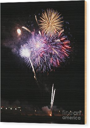 Fireworks Over The River Wood Print by Kenny Bosak