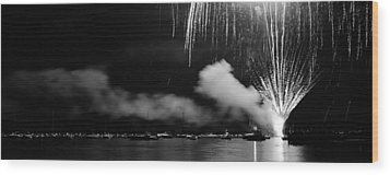 Fireworks Tahoe Ca Wood Print by Isak Hanold