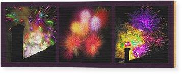 Fireworks Triptych Wood Print by Steve Ohlsen