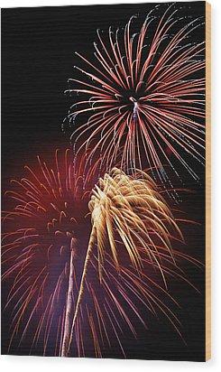 Fireworks Wixom 3 Wood Print by Michael Peychich