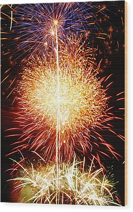 Fireworks_1591 Wood Print by Michael Peychich