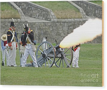 Firing Cannon Wood Print by JT Lewis