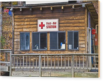 First Aid Station Wood Print by Susan Leggett