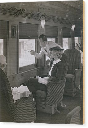 First Class Passengers In An Wood Print by Everett