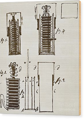 First Electric Battery Wood Print by Science Source
