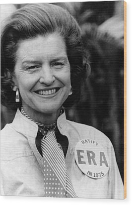 First Lady Betty Ford Wears A Badge Wood Print by Everett
