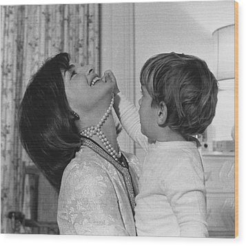 First Lady Jacqueline Kennedy Laughs Wood Print by Everett