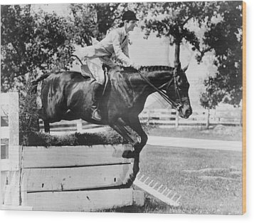 First Lady Jacqueline Kennedy, Riding Wood Print by Everett