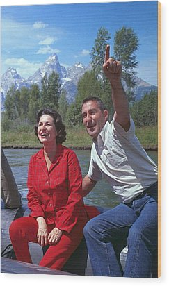 First Lady, Lady Bird Johnson, Rafting Wood Print by Everett