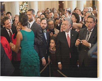 First Lady Michelle Obama Greets Guests Wood Print by Everett