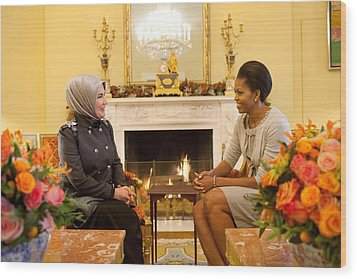 First Lady Michelle Obama Meets Wood Print by Everett