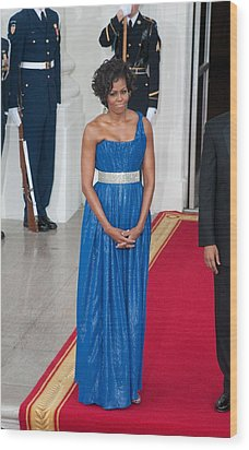 First Lady Michelle Obama Wearing Wood Print by Everett