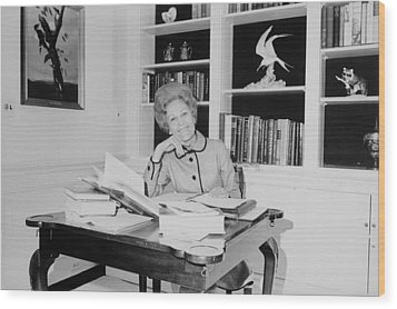 First Lady Pat Nixon Working At A Small Wood Print by Everett