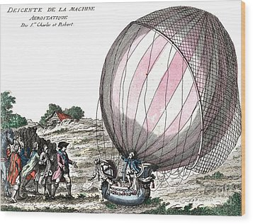 First Manned Hydrogen Balloon Flight Wood Print by Photo Researchers