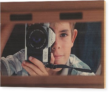 First Self-portrait Wood Print by David Paul Murray