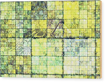First Time Geometric Yellow Wood Print by Mayhem Mediums