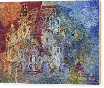 Fish -  Moon  Wood Print by Svetlana and Sabir Gadghievs