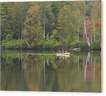Fish Creek Pond In Adirondack Park - New York Wood Print by Brendan Reals