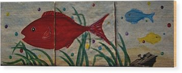Fish In A Sea Of Colored Bubbles Wood Print by Sandra Maddox