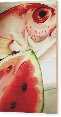 Fish Out Of Watermelon Wood Print by Joan Pollak