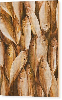 Fish Pattern On Wood Wood Print by Setsiri Silapasuwanchai