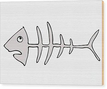 Fish Skeleton - Fishbones Wood Print by Michal Boubin