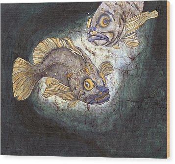 Fish Tales Wood Print by Shari Carlson