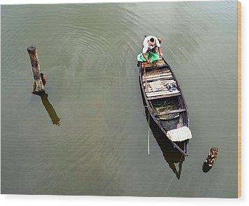 Fisherman And His Boat Wood Print by Pallab Seth