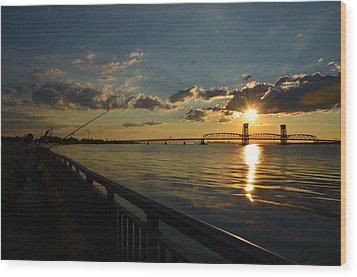 Wood Print featuring the photograph Fisherman Jamaica Bay by Maureen E Ritter