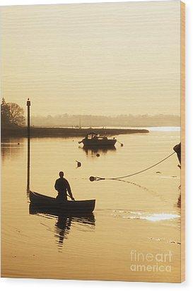 Fisherman On Lake Wood Print by Pixel Chimp