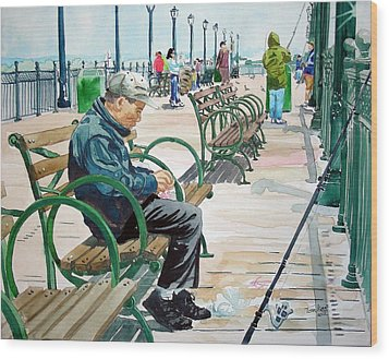 Wood Print featuring the painting Fisherman San Francisco by Tom Riggs