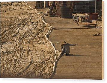 Fisherman Sewing Net Wood Print