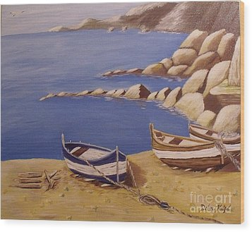 Fisherman's Boats Wood Print by Debra Piro