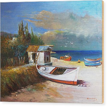 Fisherman's Cottage Wood Print by George Siaba