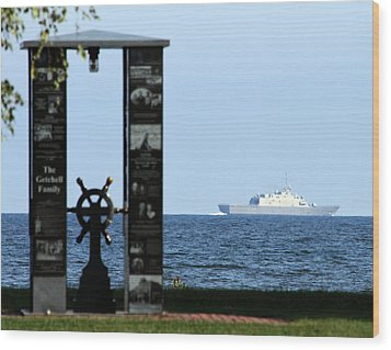 Wood Print featuring the photograph Fishermans' Memorial At Red Arrow Park And Lcs3 Uss Fort Worth by Mark J Seefeldt